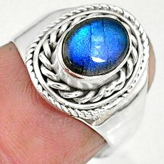 2.22cts natural blue labradorite 925 sterling silver ring jewelry size 6 r90287