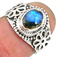2.09cts natural blue labradorite 925 sterling silver ring jewelry size 6 r90292