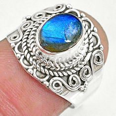 2.11cts natural blue labradorite 925 sterling silver ring jewelry size 6 r90293