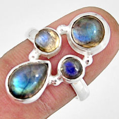 6.32cts natural blue labradorite 925 sterling silver ring jewelry size 7 r21153