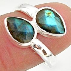4.71cts natural blue labradorite 925 sterling silver ring jewelry size 7 r37955