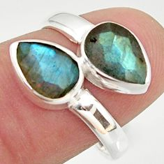 4.06cts natural blue labradorite 925 sterling silver ring jewelry size 7 r37957