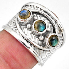 1.77cts natural blue labradorite 925 sterling silver ring jewelry size 7 r38037