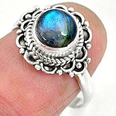 2.43cts natural blue labradorite 925 sterling silver ring jewelry size 7 r90264