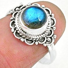 2.46cts natural blue labradorite 925 sterling silver ring jewelry size 7 r90271