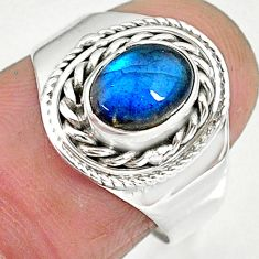 1.90cts natural blue labradorite 925 sterling silver ring jewelry size 7 r90274