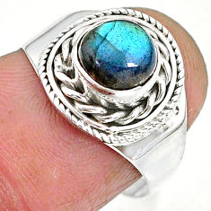 2.48cts natural blue labradorite 925 sterling silver ring jewelry size 7 r90275