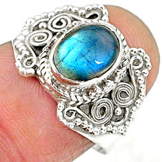2.13cts natural blue labradorite 925 sterling silver ring jewelry size 7 r90280