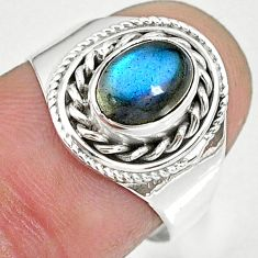 1.85cts natural blue labradorite 925 sterling silver ring jewelry size 7 r90284