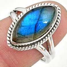 6.72cts natural blue labradorite 925 sterling silver ring jewelry size 7 t11025