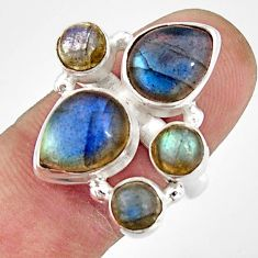11.62cts natural blue labradorite 925 sterling silver ring jewelry size 8 r21155