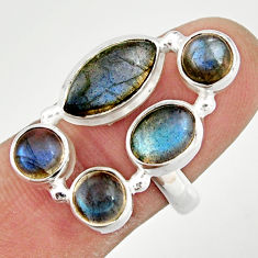 10.54cts natural blue labradorite 925 sterling silver ring jewelry size 8 r21172