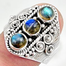 2.65cts natural blue labradorite 925 sterling silver ring jewelry size 8 r26832
