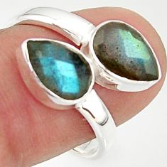 4.69cts natural blue labradorite 925 sterling silver ring jewelry size 8 r37959