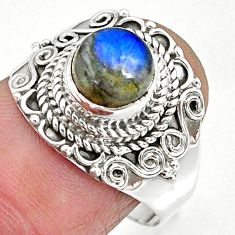 2.67cts natural blue labradorite 925 sterling silver ring jewelry size 8 r90272