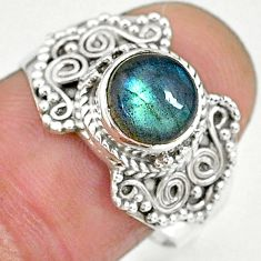 2.86cts natural blue labradorite 925 sterling silver ring jewelry size 8 r90290