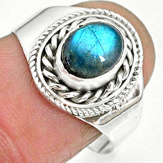 1.97cts natural blue labradorite 925 sterling silver ring jewelry size 8 r90295