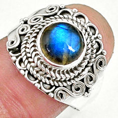 2.78cts natural blue labradorite 925 sterling silver ring jewelry size 8 r90299
