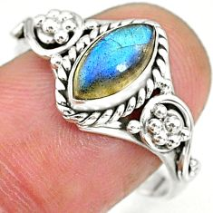 2.69cts natural blue labradorite 925 sterling silver ring jewelry size 9 r90052