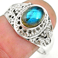 2.20cts natural blue labradorite 925 sterling silver ring jewelry size 9 r90261
