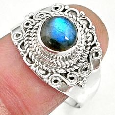 2.69cts natural blue labradorite 925 sterling silver ring jewelry size 9 r90277
