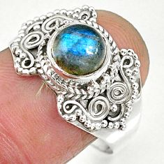 2.84cts natural blue labradorite 925 sterling silver ring jewelry size 9 r90279