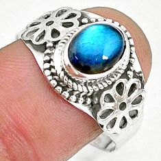 2.13cts natural blue labradorite 925 sterling silver ring jewelry size 9 r90288