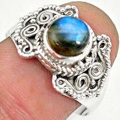 2.70cts natural blue labradorite 925 sterling silver ring jewelry size 9 r90296
