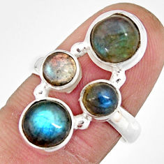 7.63cts natural blue labradorite 925 sterling silver ring size 7.5 r21145