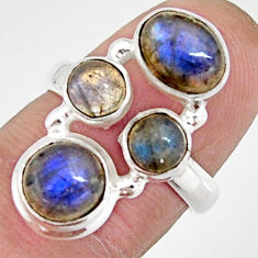5.97cts natural blue labradorite 925 sterling silver ring size 6.5 r21148