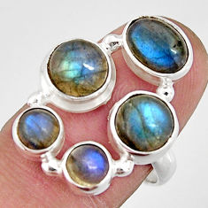 6.96cts natural blue labradorite 925 sterling silver ring size 7.5 r21149