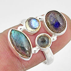 10.57cts natural blue labradorite 925 sterling silver ring size 7.5 r21187