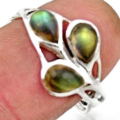 2.98cts natural blue labradorite 925 sterling silver ring size 7.5 r25879