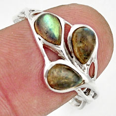 2.98cts natural blue labradorite 925 sterling silver ring size 8.5 r25880