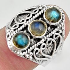2.09cts natural blue labradorite 925 sterling silver ring size 7.5 r26834