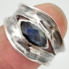 2.21cts natural blue labradorite 925 sterling silver ring size 6.5 r36996