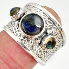 5.12cts natural blue labradorite 925 sterling silver ring size 7.5 r37935