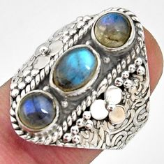 4.07cts natural blue labradorite 925 sterling silver ring size 7.5 r38017