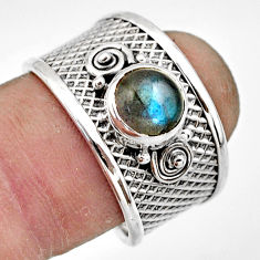 2.08cts natural blue labradorite 925 sterling silver ring size 8.5 r44271