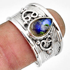 2.36cts natural blue labradorite 925 sterling silver ring size 8.5 r44273