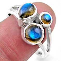 4.06cts natural blue labradorite 925 sterling silver ring size 9.5 r54519