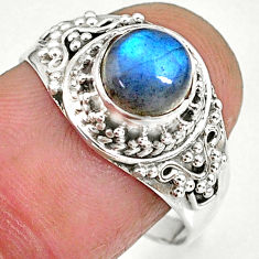 2.58cts natural blue labradorite 925 sterling silver ring size 8.5 r90282