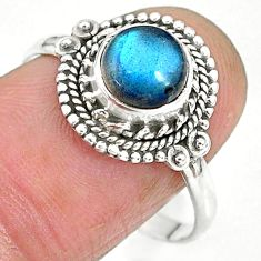 2.41cts natural blue labradorite 925 sterling silver ring size 9.5 r90283