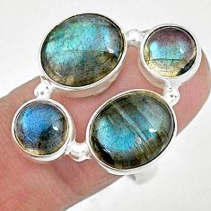 13.41cts natural blue labradorite 925 sterling silver ring size 7.5 t10399