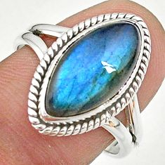 7.33cts natural blue labradorite 925 sterling silver ring size 8.5 t11028