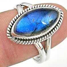 6.95cts natural blue labradorite 925 sterling silver ring size 8.5 t11034