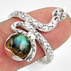 3.19cts natural blue labradorite 925 sterling silver snake ring size 8.5 d46259