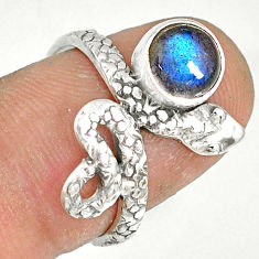 2.53cts natural blue labradorite 925 sterling silver snake ring size 7 r78613