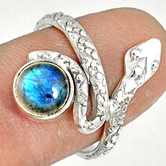 2.53cts natural blue labradorite 925 sterling silver snake ring size 7 r78637