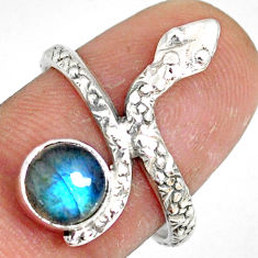 2.90cts natural blue labradorite 925 sterling silver snake ring size 8 r78675